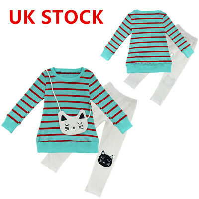 Kids Girls Long Sleeve Cat Bag Striped Top T-shirt & Pants Cat Leggings Outfits