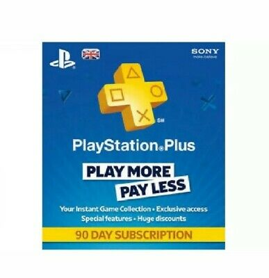 Playstation Plus 90 Days Subscription - PS3 PS4 & PS Vita SAME DAY DISPATCH CODE