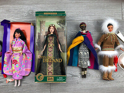 Lot Of (4) Barbies Dolls Of The World Ireland, South Africa, Japanese, Arctic