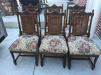 Gorgeous SOLID QUARTER SAWN OAK Dining Room Chairs 8pcs formal floral wicker