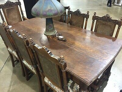 Gorgeous SOLID QUARTER SAWN OAK Dining Room Table w/ Drawer Ends