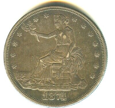 1874 CC Trade Dollar AU+ In Grade Scarce Carson City Mint Issue Original