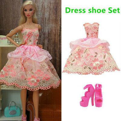 Barbie Pink Dress Clothes High Heel Shoes Set Doll Outfit Accessories Girl Gifts