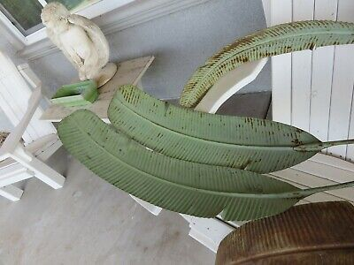 AMAZING Antique Vintage Metal Tole LARGE BANANA LEAF Leaves Chippy GREEN Paint