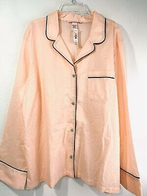 Victorias Secret Large Button Down Pajama Sleep Top Pink 100% Cotton L/S NWT