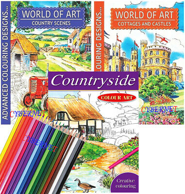 3 x A4 Adult Colouring Books Book Colour Therapy Anti-Stress COUNTRY COTTAGES