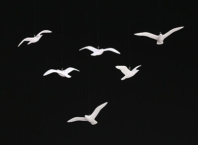 6 SEAGULL MOBILE by JOHN PERRY 3in wingspan each sculpture statue figurine art