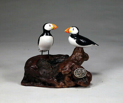 PUFFIN Duo by JOHN PERRY 6in long Hand painted Sculpture New direct from studio