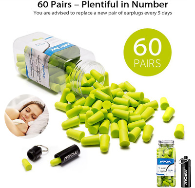 MPOW Soft Foam Earplugs 60 pairs SNR 34dB FREE Carrying Case Hearing protection!