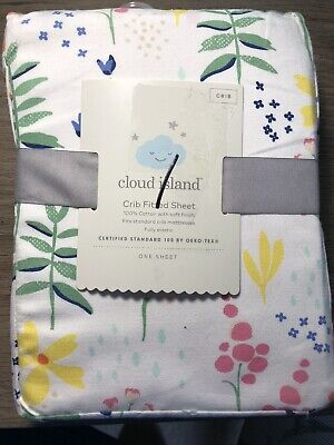 Cloud Island Fitted Crib Sheet multi color floral girls nursery new #3067
