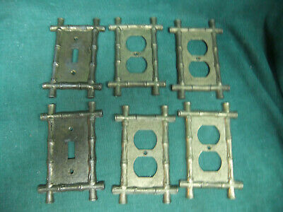 Vintage Metal Switch plate Covers and outlet covers - bamboo edge