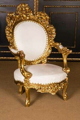 Majestic Carved Chair IN Louis Quinze Style Poliment Gold Plated