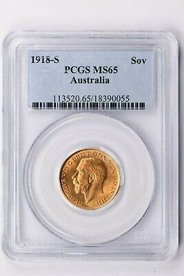 1918-S Australia 1 Sovereign PCGS MS 65 Witter Coin
