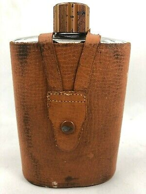 Vintage Glass Hip Flask Leather Case Cap Whiskey