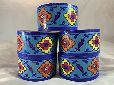 Lot of 5 Duct Tape Rolls - Blue with Flowers Print