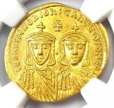 Ancient Leo IV and Constantine VI AV Solidus Gold Coin 776-780 AD - NGC MS (UNC)