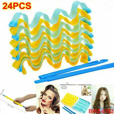 24pcs Water Wave Magic Curlers Curl Formers Leverage UK Spiral Hairdressing Tool