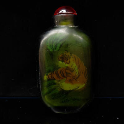 Chinese Exquisite Handmade Tiger pattern glass snuff bottle      S573