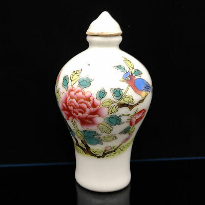 Chinese Exquisite Handmade Flowers & birds pattern porcelain snuff bottle  S145