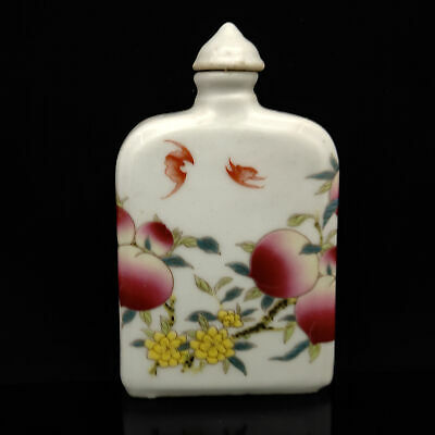 Chinese Exquisite Handmade peach pattern porcelain snuff bottle  S154