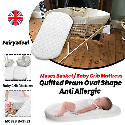 Moses Basket / Baby Crib Mattress Quilted Pram Oval Shape Anti Allergic All Size