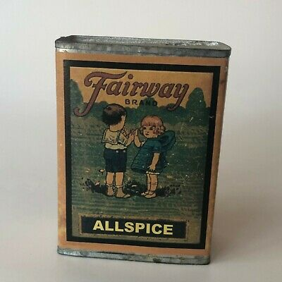 Vintage Fairway Brand Metal Allspice Spice Tin Reproduction Metal Box Decor