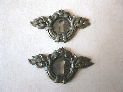 (2) Antique - Solid Brass Furniture Keyhole  Decorations - Embellishments
