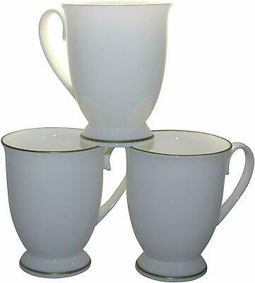 Set of 6 White Fine Bone China Gold Banded Shaped Footed Mugs Cups Gift Set