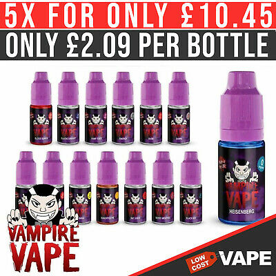 Vampire Vape E-liquid Juice, All Flavours/Nicotine Strength 5 x 10ml for £9.95