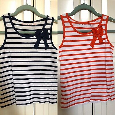 Girls Set Of 2 Vest Tops Red Navy Blue Stripe Bow Next 11 Years