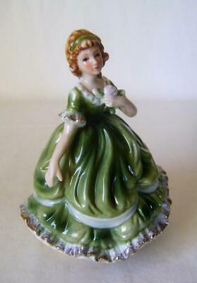 Japanese Porcelain Crinoline Lady Figurine with Musical Movement in the base