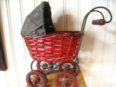 Vintage Style Wicker Doll Carriage Buggy Wood Metal 7""
