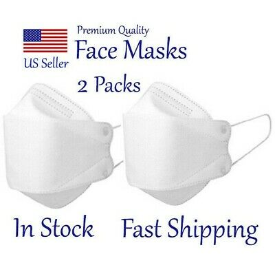 2 Masks Mouth Nose Coverings, Face Protective 3D Mask : White, Made In Korea