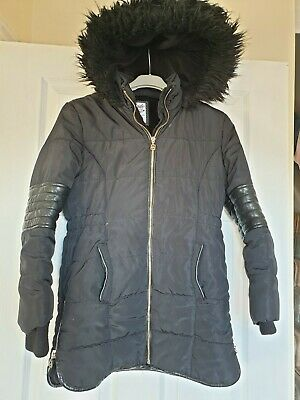 Excellent Condition F&F Girls Black Hooded Winter Coat Age 10-11 Years