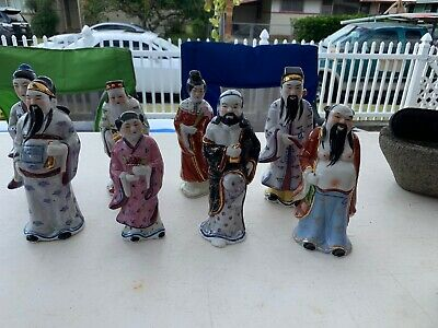 Vintage Lot Of 8 Porcelain Chinese Immortal Figures Mid Century Chinese Export