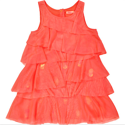 BILLIEBLUSH girls neon pink tiered layered DRESS 4Y tulle w/ sequins Occasion