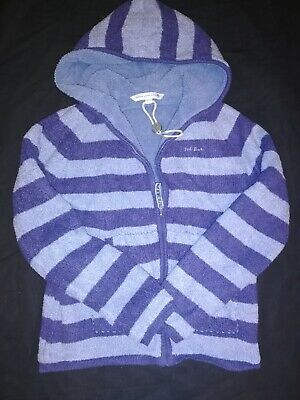 VGC Girls Boys FAT FACE Blue Stripey Hooded Soft Fluffy Jacket Coat Thick 12-13