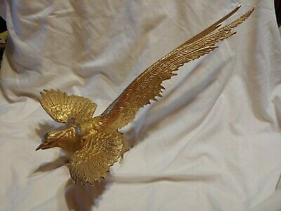 "Gold iron fighting pheasant figurine 16.5"" (head to tail)"