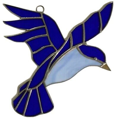 """Blue Bird  -Stained Glass - Handcrafted-Sun Catcher - 8"""" x 7"""" Inches"""