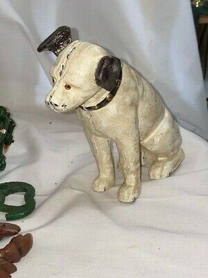 Vintage Cast Iron Nipper Rca Dog Coin Bank