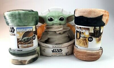 "Star Wars Mandalorian Mattel Child 11"" Plush & 2 Northwest Super Baby Yoda Throw"
