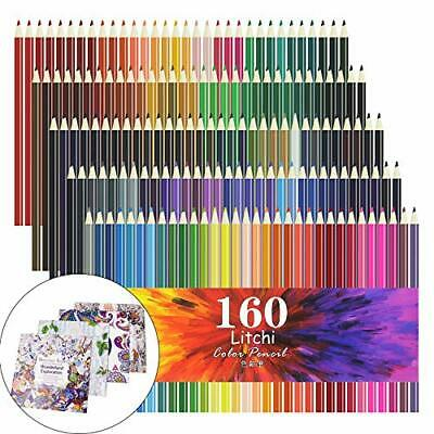 Litchi colored pencils 160-color oil-based w/Drawing book x4 new from Japan
