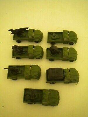 "7 VINTAGE 1 1/2"" PLASTIC MILITARY VEHICLES HONG KONG 666 - EARLY 1960s"