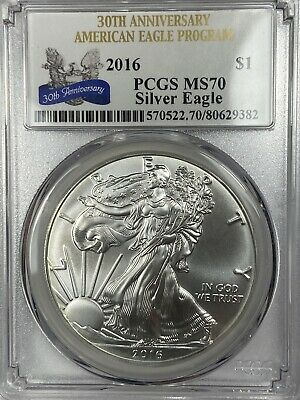 2016 US American Silver Eagle $1 Dollar PCGS MS70 30th Anniversary Coin