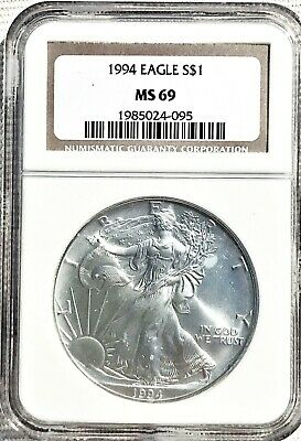 1994 American Silver Eagle 1 oz. Coin NGC MS-69 (Brown Label)
