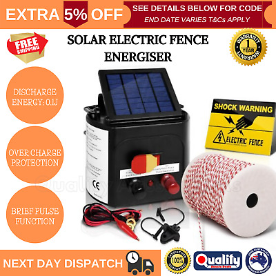 3km Solar Electric Fence Energiser Set Insulator Farm Kit Charger Energizer Tape