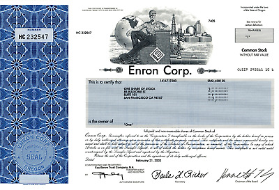 *RARE* Enron Corp. Stock Certificate with Ken Lay's signature - Wall Street NYSE