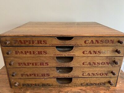 Vintage French Canson Wooden 5 Drawer Shop Display Original Mid Century