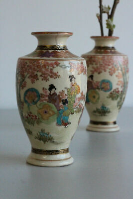 Pair Antique Japanese Satsuma Earthenware Vases