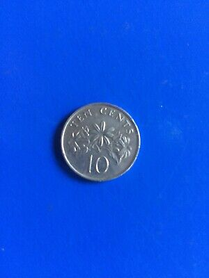 1991 Singapore Coin 10 Cents Flowers  Circulated